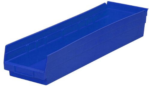 Akro-Mils 30164  24-Inch by 6-Inch by 4-Inch Plastic Nesting Shelf Bin Box, Blue, Case of 6