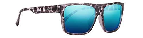 (Modern Black and White Tortoise Shell Flat Top Flex Frame Polarized Sunglasses - Swiss TR90 Thermoplastic -with Blue Polarized Lenses - By Dill NECTAR)