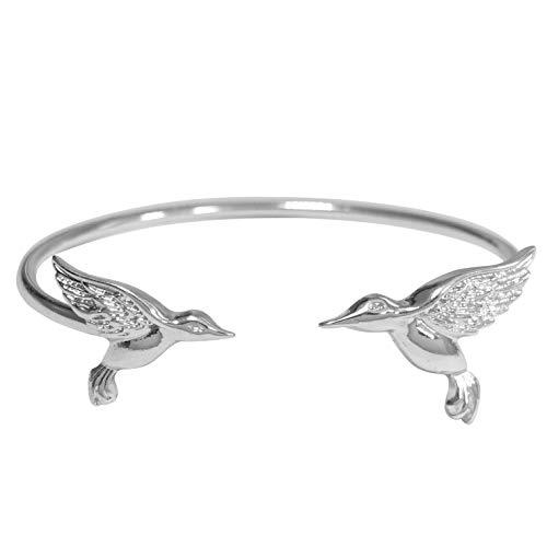 Gypsy Jewels Simple Theme Cuff Bracelet (Hummingbird Silver Tone)