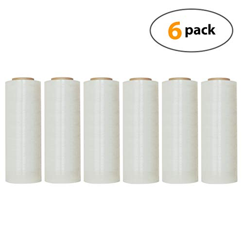 """18"""" X 1500 Feet Industrial Strength Pallet Shrink Wrap, 8.25 Lbs Per Roll, 80 Gauge(20 Micron) Heavy Duty Self-Adhesive Stretch Film Wrap for Packing, Moving, Boxes, Pallets (6 Rolls)"""