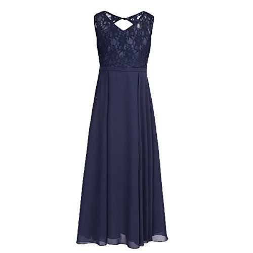 FEESHOW Big Girls Floral Lace Dress Junior Bridesmaid Wedding Party Graduation Dark Navy (Girls Navy Blue Dress)
