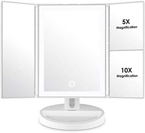 Auxmir Trifold Vanity Mirror with LED Lights, Makeup Mirror with 5X /10X Magnifications, Countertop Table Cosmetic Mirror for Makeup, Auto-off, Touch Screen and 34 LED Dimmable Natural Lights