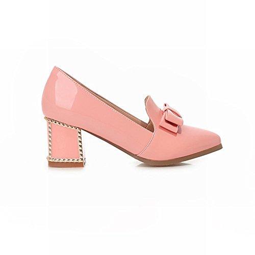 Carol Schoenen Sweet Womens Bowknots Cute Grace Pointed-teen Dikke Mid-hakken Pumps Dress Shoes Pink