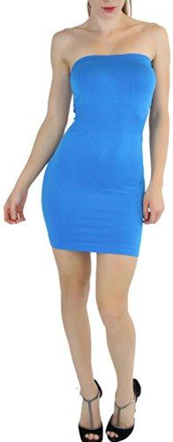 ToBeInStyle Women's Microfiber Seamless Strapless Stretchy Mini Tube Slip Dress - Turquoise - One Size