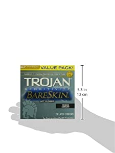 Trojan Condom Sensitivity Bareskin Lubricated, 24 Count