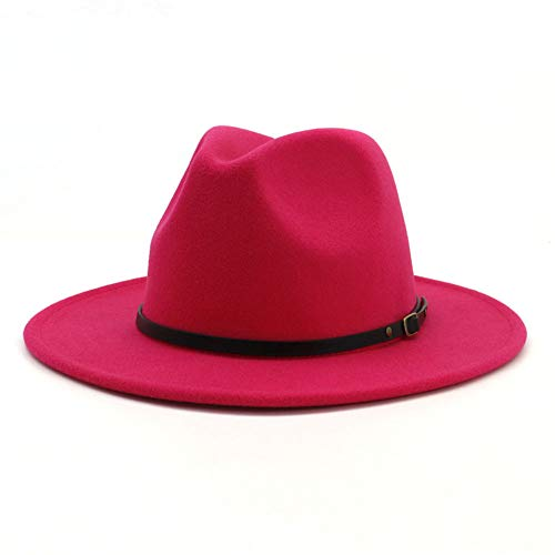 Lisianthus Women Belt Buckle Fedora Hat (Rose)