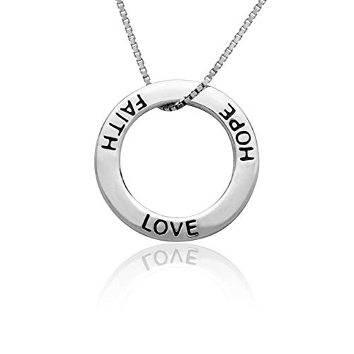 Honolulu Jewelry Company Sterling Silver Faith Love Hope Open Circle Necklace Pendant with 18
