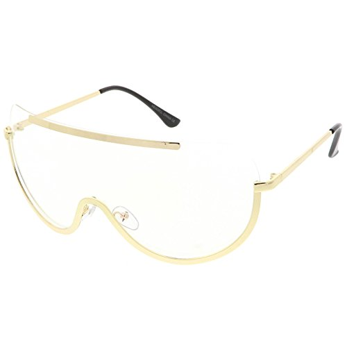 sunglassLA - Oversize Semi Rimless Shield Eyeglasses Metal Trim Clear Mono Lens 65mm (Gold / - Lens Mono