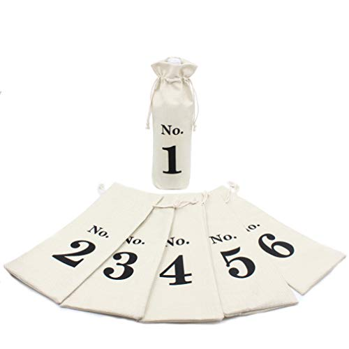 1 to 6 Blind Wine Tasting Wine Bags-Table Numbers for Wedding Cotton Linen Wine Tasting Bags-Burlap Wine Bag Set of 6