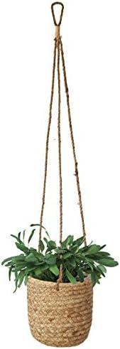Vasi per piante sospese in vimini con rivestimento interno in plastica impermeabile Giacinto d'acqua Vimini da appendere a parete Copertura per fioriera Cesto Vaso da fiori giardino interno Balcone