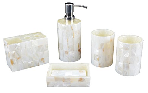 AIMONE White Pearl Shell Resin 5 Pieces Bathroom Accessary set: Features Soap Dispenser Pump,Toothbrush Holder, Tumbler of 2, Soap Dish, Durable Bath Set Decorating Ideas Modern White Mother Of Pearl