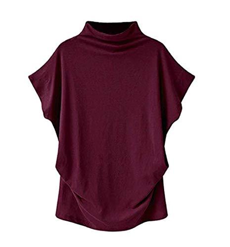 VLDO Sweatshirts for Women Casual Loose Linen Soild Lace Splice Button Short Sleeve Tops(Red,XL)