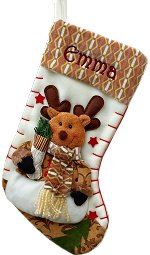 Personalized Christmas Stockings - Fleece Rudolph