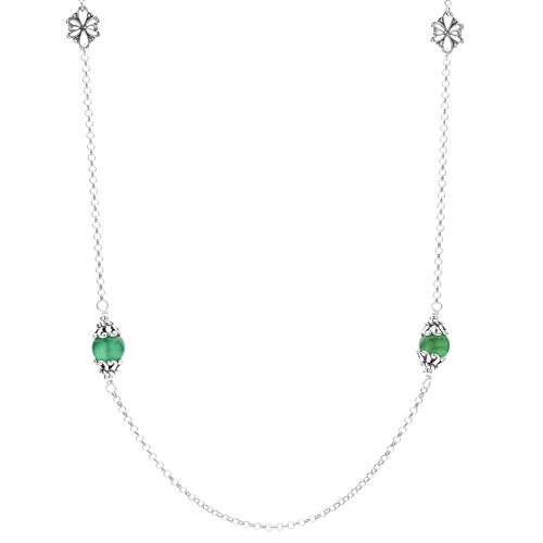 Carolyn Pollack Sterling Silver Green Agate Gemstone Floral Stations Beaded Necklace 32 Inch ()