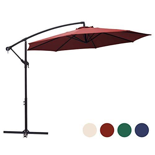 KINGYES 10ft Patio Offset Cantilever Umbrella Market Umbrella Outdoor Umbrella Cantilever Umbrella,with Crank & Cross Base (Burgundy) (Burgundy)