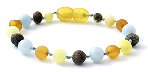 BoutiqueAmber Raw Baltic Amber Teething Bracelet/Anklet Made with Aquamarine Beads - Size 6.3 inches (16 cm) - Raw Multicolor Amber Beads (6.3 inches, Raw Multi/Aquamarine)