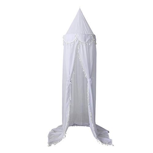 Kukakoo Fashion 240cm Kids Baby Room Bed Curtain Canopy Pointed Tassel Chiffon Hung Mosquito Net - White