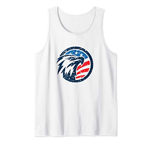 American Eagle White Shorts - 4th of July Shirt USA American Flag Vintage Patriotic Eagle  Tank Top