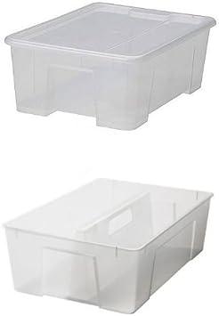 Ikea Samla - Caja de plástico con tapa (28 x 39 x 14 cm, 11 litros): Amazon.es: Bricolaje y herramientas