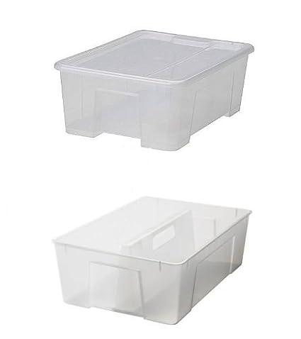 Ikea Samla - Caja de plástico con tapa (28 x 39 x 14 cm,