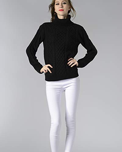 Aden collo Elegante Invernali Maglioni Dolcevita Vintage Manica alto Maglieria Donna Nero lunga 55qrWw8S4