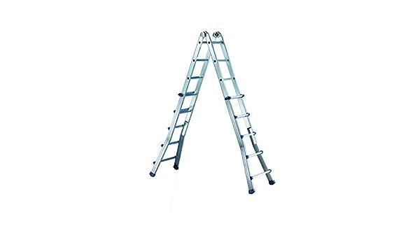 Escalera Telescópica multiposición de aluminio con base allargata: Amazon.es: Bricolaje y herramientas