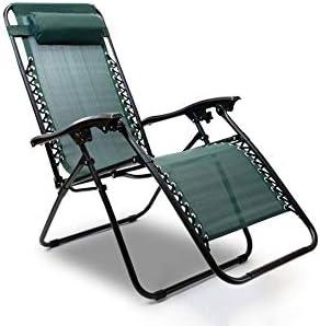 Hyfive Sun Lounger Reclining Folding Chair Garden Beach Patio Camping Zero Gravity Green 2 Chairs