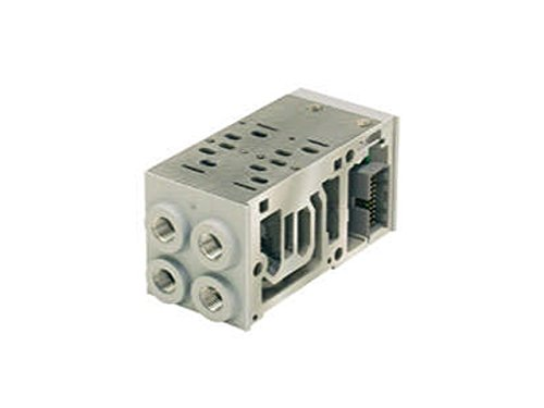Parker Hannifin PS551153MP End Ported 2-Station Manifold Base for Isys ISO Series Plug-In Size HA Valve, Double Solenoid, Circuit Board Enclosure, 1/4'' NPT Port Size