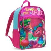 Dreamworks Trolls Movie Poppy Cooper Childrens School Bag Backpack with Front Zipper Pocket Large Pink Blue Show Me A (Show Me Monster High)