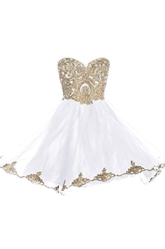 Beautiful Handmade Lace - 99Gown Prom Dresses Short Lace Prom Homecoming Dresses Affordable Beautiful Sparkly Dress, Color White,4