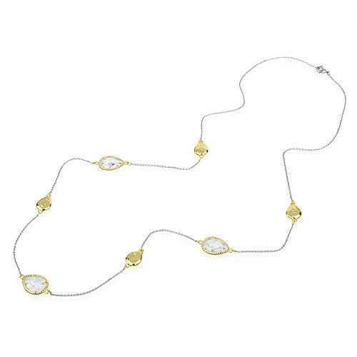 - BIJOUX BOBBI Teardrop Clear CZ & Hammered Gold Tone Teardrop Pebbles Long Strand Necklace 36