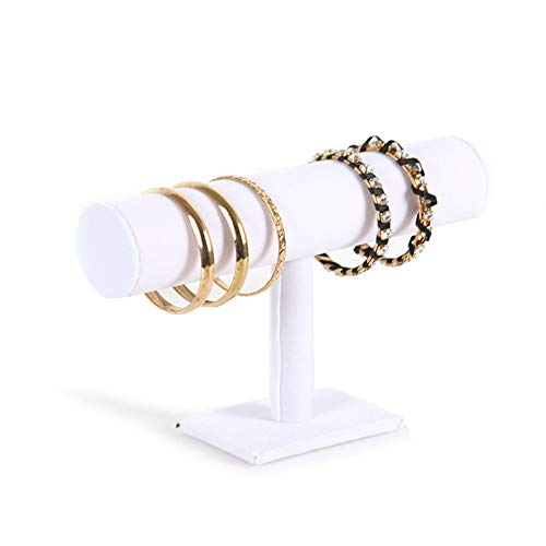 Zxcvlina Hanging Jewellery Tower 2ps/Pack T-Bar Bracelet Necklace Headband Jewelry Display Stand for Home Organization (Color : White Velvet, Size : 23.514cm)