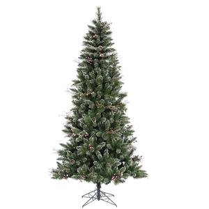 Vickerman Snow-Tipped Pine/Berry Tree-Unlit, 7-Feet, Frosted