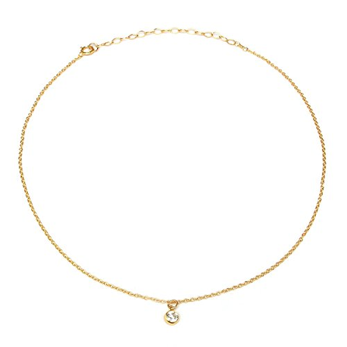 Choker Necklace, Delicate 14K Gold Filled Fashion Jewelry for Women Girls, Fine Chain, Cubic Zirconia Pendant, Gifts (Micro Crystal Choker) (Handcrafted Fine Jewelry Collections)