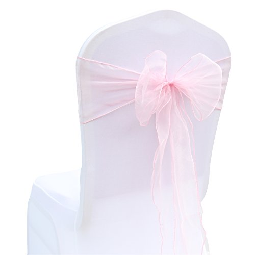 BITFLY 100pcs 18cm x 275cm Chair Organza Chair Sashes Bow For Wedding Party Birthday Banquet Events Supplies Chair Cover Sash Decoration 30 Colors Available light pink