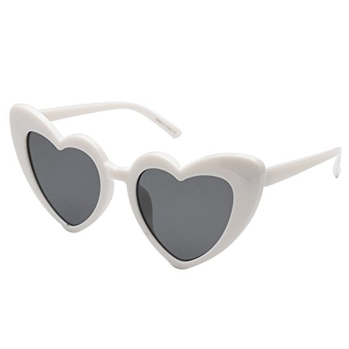 Cramilo Women Heart Shaped Sunglasses Fashion Cute Cat Eye Mod Style Retro Glasses White -