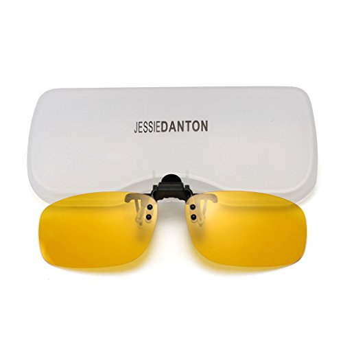 JESSIEDANTON HD Night Vision Polarized Clip-on Flip Up Metal Clip Rimless Sunglasses, Lightweight, L Size, Yellow - Driving Lens