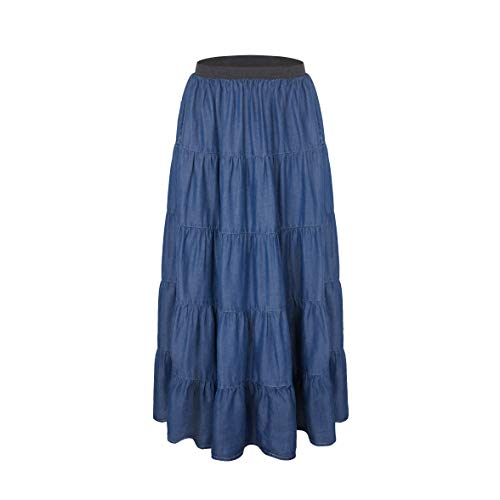 Tronjori Womens A Line Maxi Long Lightweight Tencel Denim Tiered Skirt with Multi Layers(L, DK Blue Multi Layer)