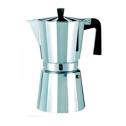 Oroley – Cafetera Italiana New Vitro | Aluminio | 12 Tazas | Cafetera Vitrocerámica, Fuego y Gas | Estilo Tradicional