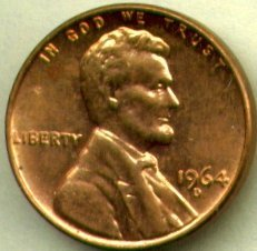 Lincoln Memorial Cent Roll - 1964-D Lincoln Memorial Cents Bank Roll, Uncirculated