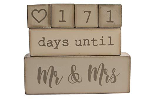 Down To Date 6 Piece Wooden Block Wedding Countdown Calendar
