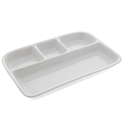 BIA White Divided TV Tray (Tv Plates Dinner)