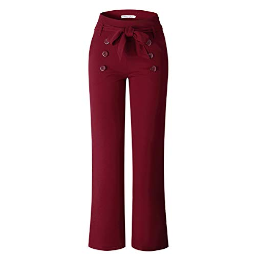 (VKOOVIFA Women's Stretchy Bell Bottoms High Waist Wide Leg Flare Pants Belt Wine Red Medium)
