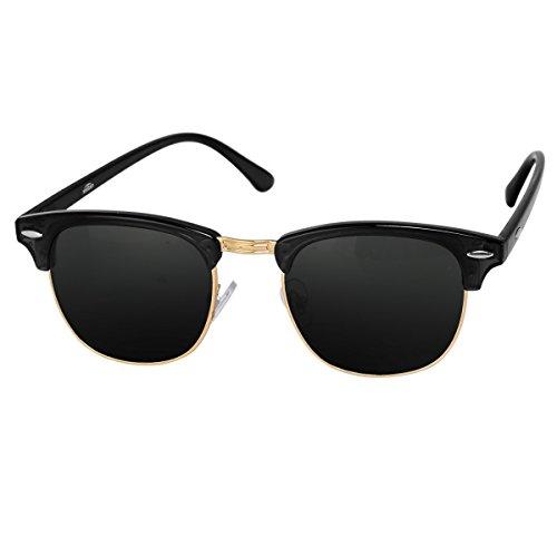 Silver Kartz Wayfarer Clubmaster Unisex Sunglasses (wy035 40 Grey)