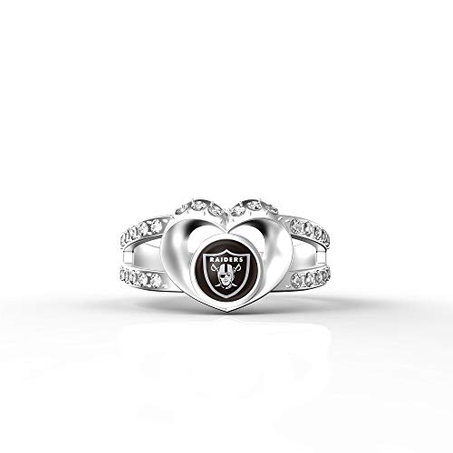 Oakland Raiders Jewelry - MT-Sports store NFL Heart Shaped Lady Ring Lady Exquisite Heart Shaped Ring(8S.Oakland Raiders)