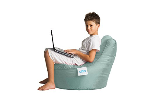 """Alta Kiddo Bean Bag Lounge Chair for Young Kids/Children (COVER ONLY) Made Stain and Water Resistant for Indoor and Outdoor Use. 17.71"""" x 21.65"""" Silver (Lounge Chair Silver)"""