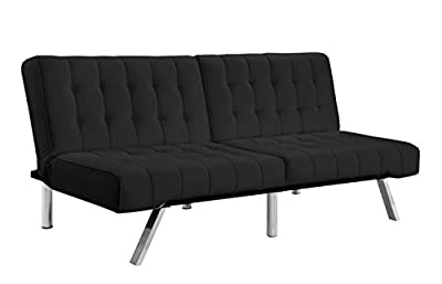 Divano Roma Furniture Modern Convertible Futon Tufted Sofa/Bed, Black