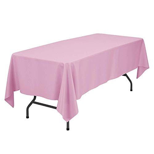 GlaiEleh Rectangle Tablecloth - 60 x 102 Inch - Pink Rectangular Table Cloth for 6 Foot Table in Washable Polyester - Great for Buffet Table, Parties, Holiday Dinner, Wedding & More