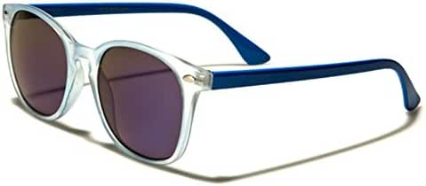 Round Horn Rimmed Retro Sunglasses - Two Tone Translucent Frame - Color Mirror Lens