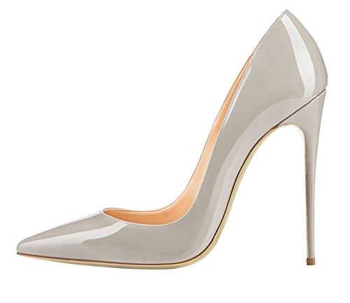 EDEFS Escarpins Femme - Sexy Talon Aiguille - 120mm High Heel Chaussures - Grande Taille Vernis Gris HaWDAzy